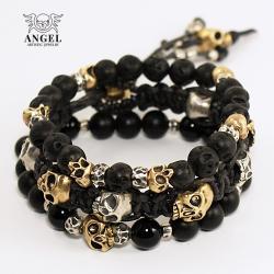 koplet bransolet,surowa biżuteria z czaszkami - Bransoletki - Biżuteria