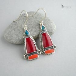 kolczyki z koralem,azteckie wzory,czerwień - Kolczyki - Biżuteria
