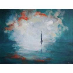morze,łódź,zieleń,turkus,pomarańcz,szary - Obrazy - Wyposażenie wnętrz