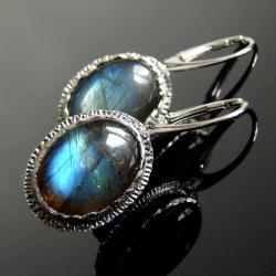 kolczyki,labradoryt,srebro,Unikat - Kolczyki - Biżuteria