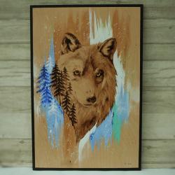 wilk,pirografia,wypalanie - Obrazy - Wyposażenie wnętrz