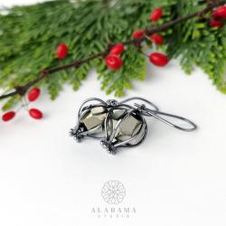 minimalistyczne srebrne kolczyki z pirytami - Kolczyki - Biżuteria