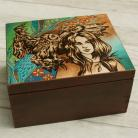 Pudełka pirografia,kobieta,sowa
