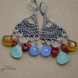 boho,kolczyki,kolorowe,wire wrapping - Kolczyki - Biżuteria