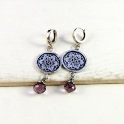 srebrne kolczyki z kwarcem - Kolczyki - Biżuteria