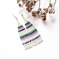 kolczyki indiańskie,kolczyki etniczne,w paski - Kolczyki - Biżuteria