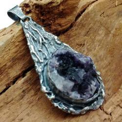 fluoryt,srebrny,szary,blask,róż,seledyn,kryształy, - Wisiory - Biżuteria