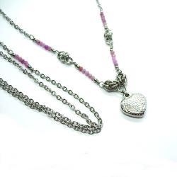 stal szlachetna,chainmaille,serce,rubiny,długi - Naszyjniki - Biżuteria