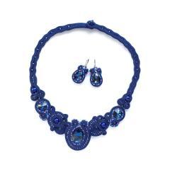 granatowy komplet soutache,sutaszowa biżuteria - Komplety - Biżuteria