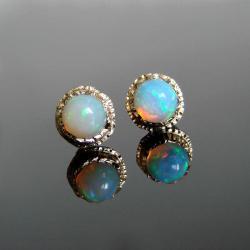 opal,złoto,kolczyki,sztyfty,unikat - Kolczyki - Biżuteria