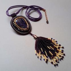 naszyjnik,z chwostem,haft koralikowy,z ametystem - Naszyjniki - Biżuteria