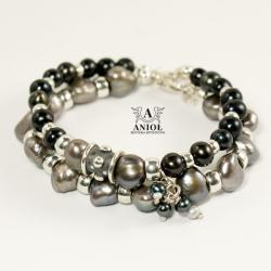 komplet bransolet z pereł,biżuteria z perłami - Bransoletki - Biżuteria
