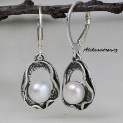 srebro,oksydowane,perła,polerowane - Kolczyki - Biżuteria
