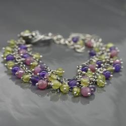 bransoletka,srebro,wire wrapping,kolorowa - Bransoletki - Biżuteria