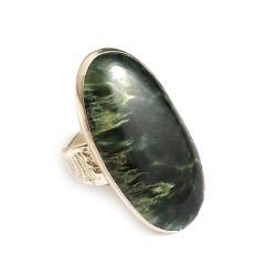 serafinit,srebrne,okazałe,wiosna,las - Pierścionki - Biżuteria