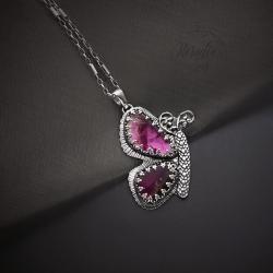 srebrny,motyl,naszyjnik,z turmalinem - Naszyjniki - Biżuteria