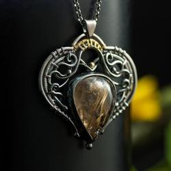 wire-wrapping,unikatowy wisior,srebrno-złoty - Wisiory - Biżuteria