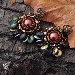 aillillstudio,sztyfty,haft koralikowy,jesienne - Kolczyki - Biżuteria