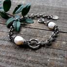 Bransoletki łańcuszkowa,gruba,z perłą,srebrna