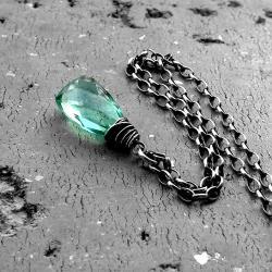 delikatny,miętowy,z kamieniem,codzienny,srebro - Naszyjniki - Biżuteria