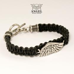 bransoleta srebrne skrzydło,anielskie,skórzana - Bransoletki - Biżuteria