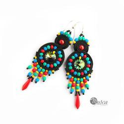 Kolczyki w folkowej kolorystyce - Kolczyki - Biżuteria