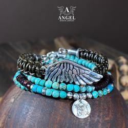 komplet bransolet,bransoleta ze skrzydłem - Bransoletki - Biżuteria