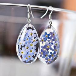 biżuteria z żywicy srebro niezapominajki - Kolczyki - Biżuteria