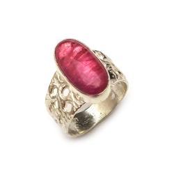 turmalin,srebrny,blask,różowy,okaz,delikatny,styl - Pierścionki - Biżuteria