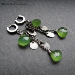 srebro,chalcedon,zielone,długie,surowe - Kolczyki - Biżuteria