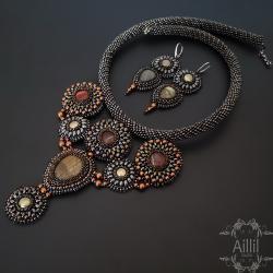 ekskluzywny,wyjątkowy,elegancki,haft koralikowy - Komplety - Biżuteria