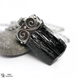 naszyjnik,turmalin,czarny,srebro,unikat,amulet - Naszyjniki - Biżuteria