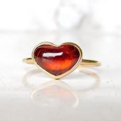 pierścionek z granatem sercem - Pierścionki - Biżuteria
