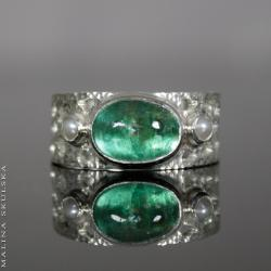 klasyczny,ażurowy,apatyt,perła,vintage - Pierścionki - Biżuteria
