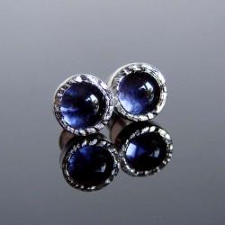 srebro,iolit,kolczyki,sztyfty,mini - Kolczyki - Biżuteria