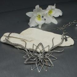 naszyjnik,kwiat,wire wrapping,duży,księżyc - Naszyjniki - Biżuteria