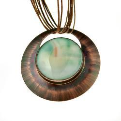 bizuteria z agatem,naszyjnik miedziany,koło - Naszyjniki - Biżuteria