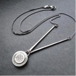 srebro,kompas,róża wiatrów,oksydowany,surowy - Dla mężczyzn - Biżuteria
