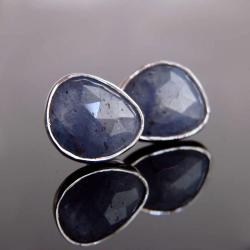 kolczyki,srebro,sztyfty,tanzanit - Kolczyki - Biżuteria