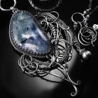 Naszyjniki srebrny,naszyjnik,wire-wrapping,niebieski,fluoryt
